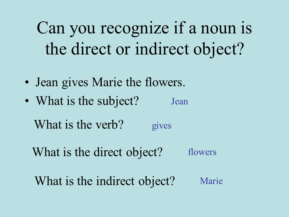 Can you recognize if a noun is the direct or indirect object.