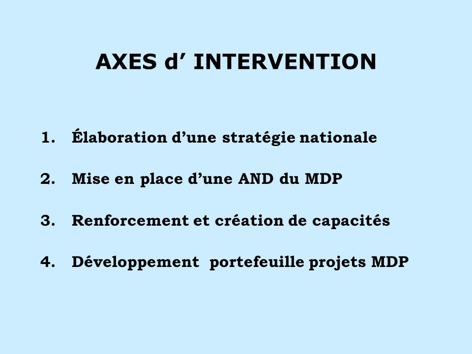 AXES d INTERVENTION 1.Élaboration dune stratégie nationale 2.Mise en place dune AND du MDP 3.Renforcement et création de capacités 4.Développement portefeuille projets MDP