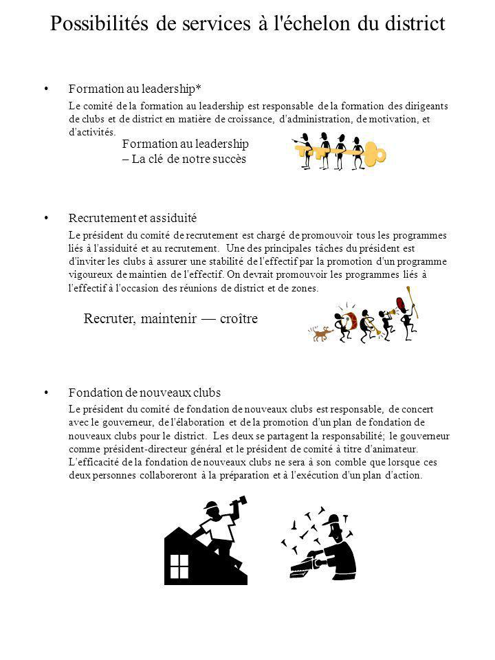 Possibilités de services à l échelon du district Formation au leadership* Le comité de la formation au leadership est responsable de la formation des dirigeants de clubs et de district en matière de croissance, d administration, de motivation, et d activités.
