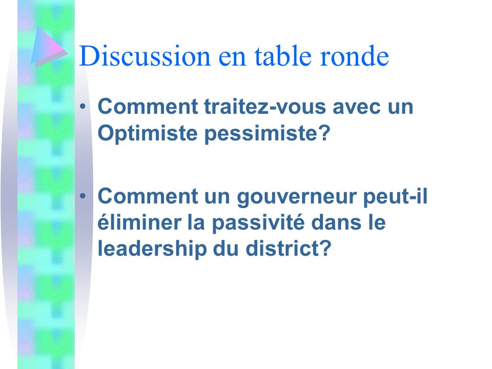 Discussion en table ronde Comment traitez-vous avec un Optimiste pessimiste.