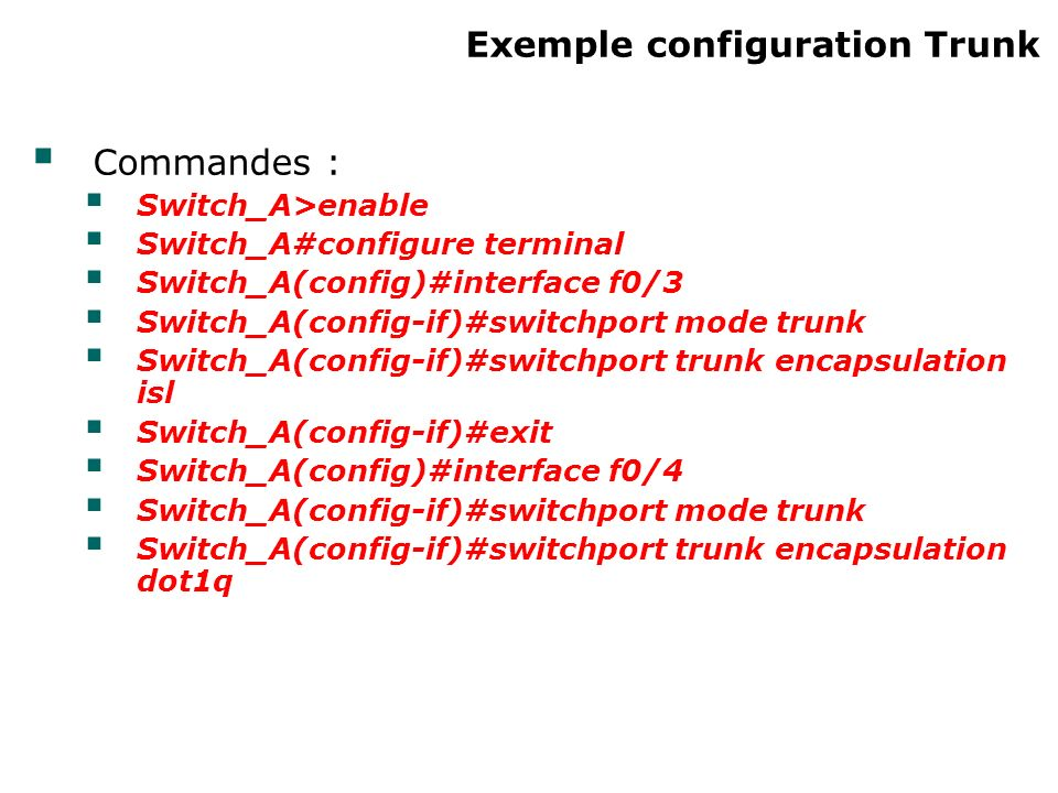 Exemple configuration Trunk Commandes : Switch_A>enable Switch_A#configure terminal Switch_A(config)#interface f0/3 Switch_A(config-if)#switchport mode trunk Switch_A(config-if)#switchport trunk encapsulation isl Switch_A(config-if)#exit Switch_A(config)#interface f0/4 Switch_A(config-if)#switchport mode trunk Switch_A(config-if)#switchport trunk encapsulation dot1q