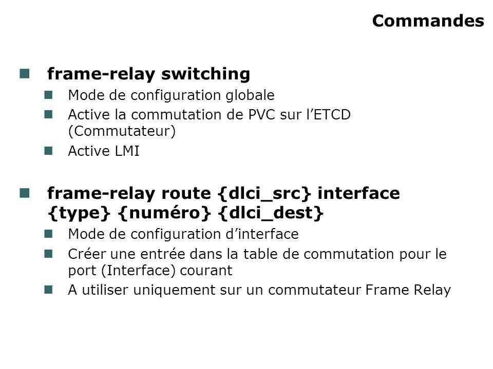 Commandes frame-relay switching Mode de configuration globale Active la commutation de PVC sur lETCD (Commutateur) Active LMI frame-relay route {dlci_src} interface {type} {numéro} {dlci_dest} Mode de configuration dinterface Créer une entrée dans la table de commutation pour le port (Interface) courant A utiliser uniquement sur un commutateur Frame Relay