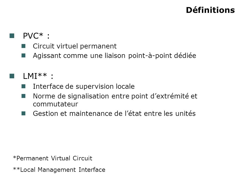 Définitions PVC* : Circuit virtuel permanent Agissant comme une liaison point-à-point dédiée LMI** : Interface de supervision locale Norme de signalisation entre point dextrémité et commutateur Gestion et maintenance de létat entre les unités *Permanent Virtual Circuit **Local Management Interface