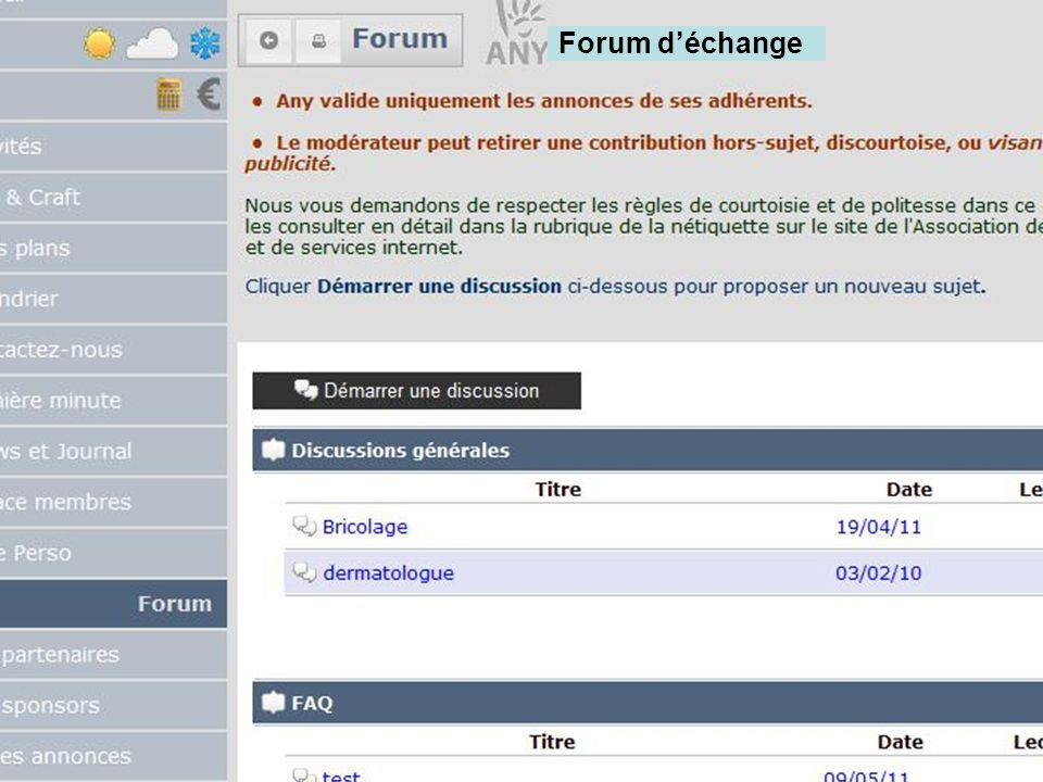 Forum déchange