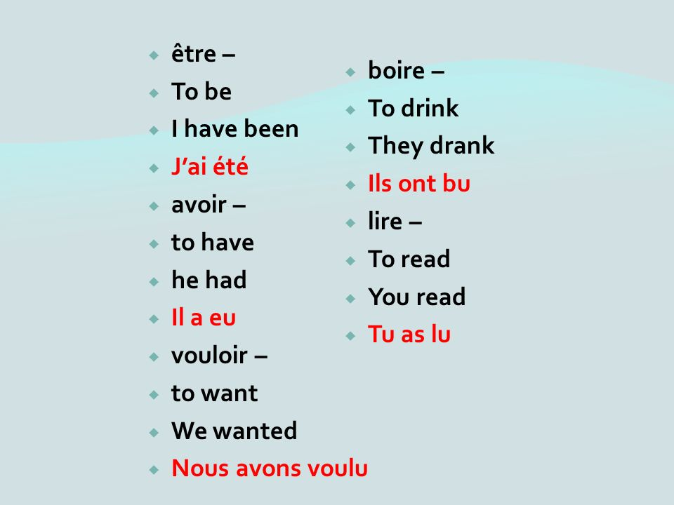 être – To be I have been Jai été avoir – to have he had Il a eu vouloir – to want We wanted Nous avons voulu boire – To drink They drank Ils ont bu lire – To read You read Tu as lu