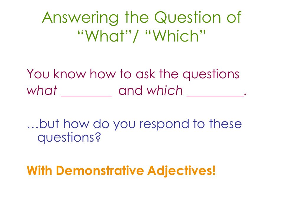 Answering the Question of What/ Which You know how to ask the questions what ________ and which _________.