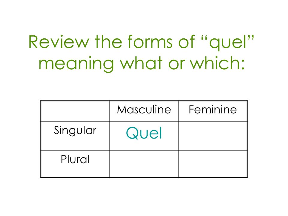 Review the forms of quel meaning what or which: MasculineFeminine Singular Quel Plural