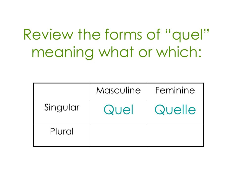 Review the forms of quel meaning what or which: MasculineFeminine Singular QuelQuelle Plural