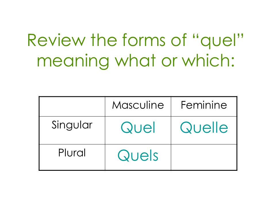 Review the forms of quel meaning what or which: MasculineFeminine Singular QuelQuelle Plural Quels