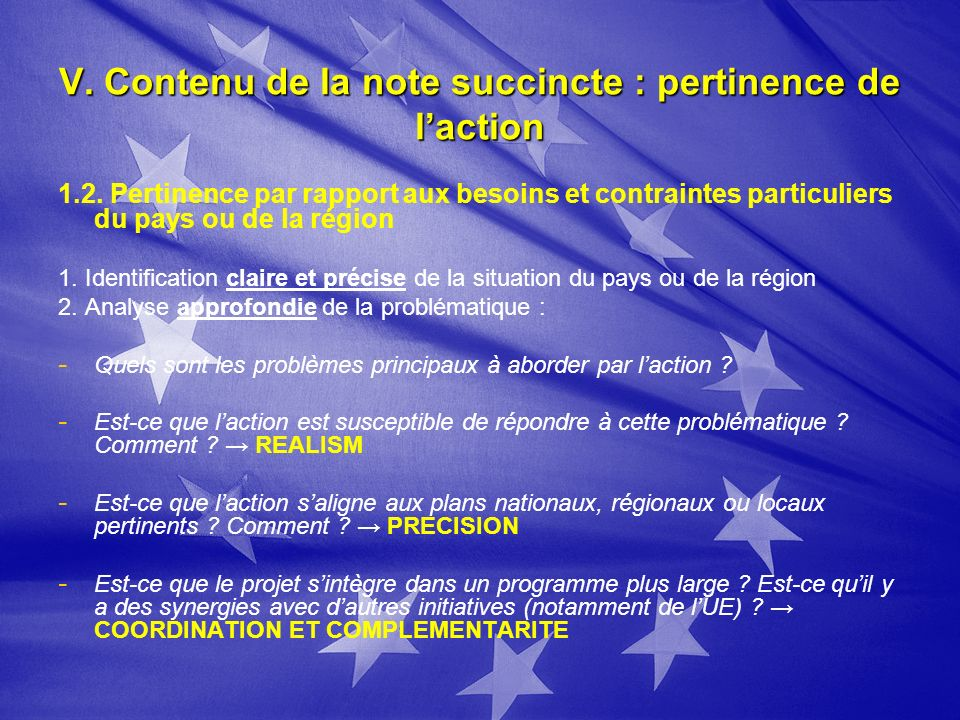 V. Contenu de la note succincte : pertinence de laction 1.2.