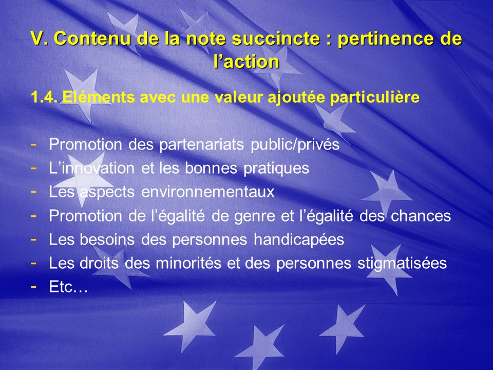 V. Contenu de la note succincte : pertinence de laction 1.4.