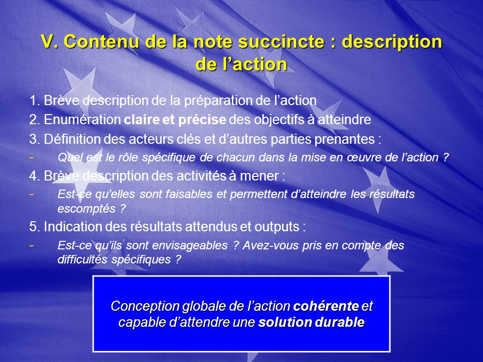 V. Contenu de la note succincte : description de laction 1.