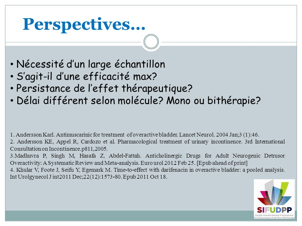 Perspectives… 1. Andersson Karl. Antimuscarinic for treatment of overactive bladder.
