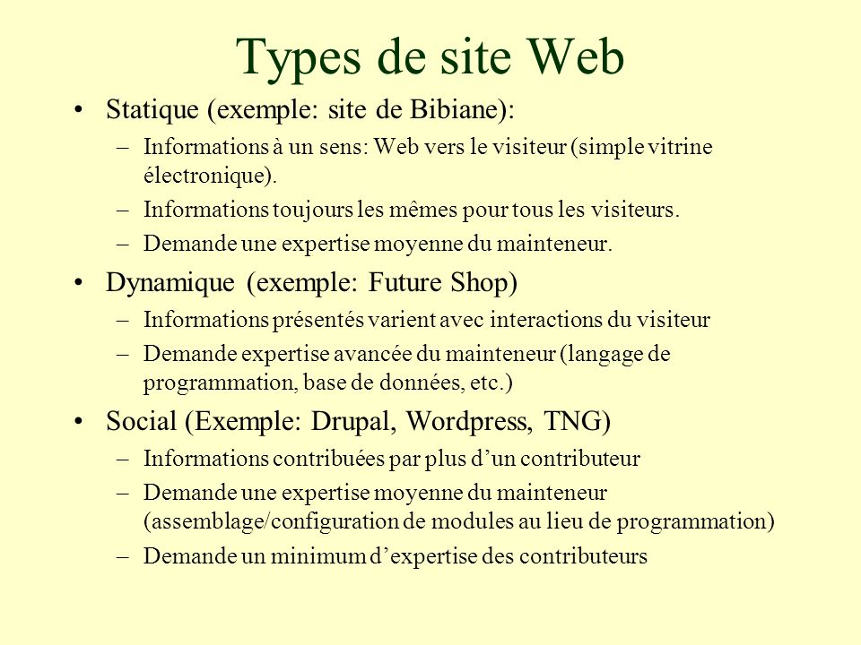 Types de site Web Statique (exemple: site de Bibiane): –Informations à un sens: Web vers le visiteur (simple vitrine électronique).