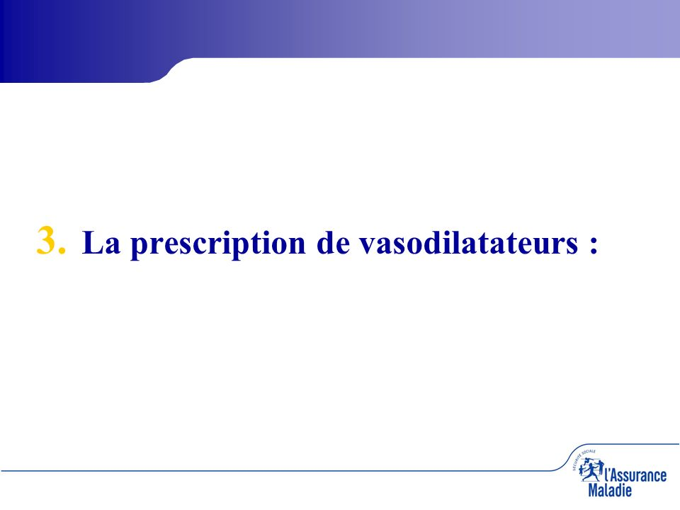 3. 3. La prescription de vasodilatateurs :
