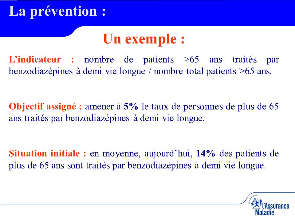 La prévention : Un exemple : Lindicateur : nombre de patients >65 ans traités par benzodiazépines à demi vie longue / nombre total patients >65 ans.