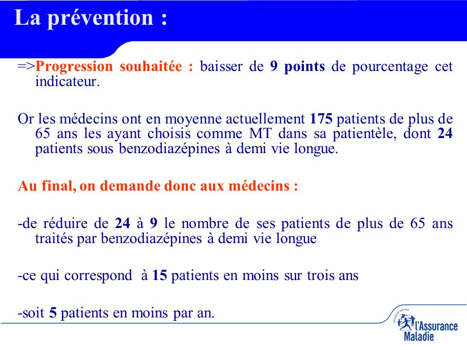 =>Progression souhaitée : baisser de 9 points de pourcentage cet indicateur.