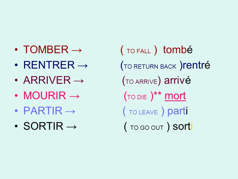 TOMBER ( TO FALL ) tombé RENTRER ( TO RETURN BACK )rentré ARRIVER ( TO ARRIVE ) arrivé MOURIR ( TO DIE )** mort PARTIR ( TO LEAVE ) parti SORTIR ( TO GO OUT ) sorti