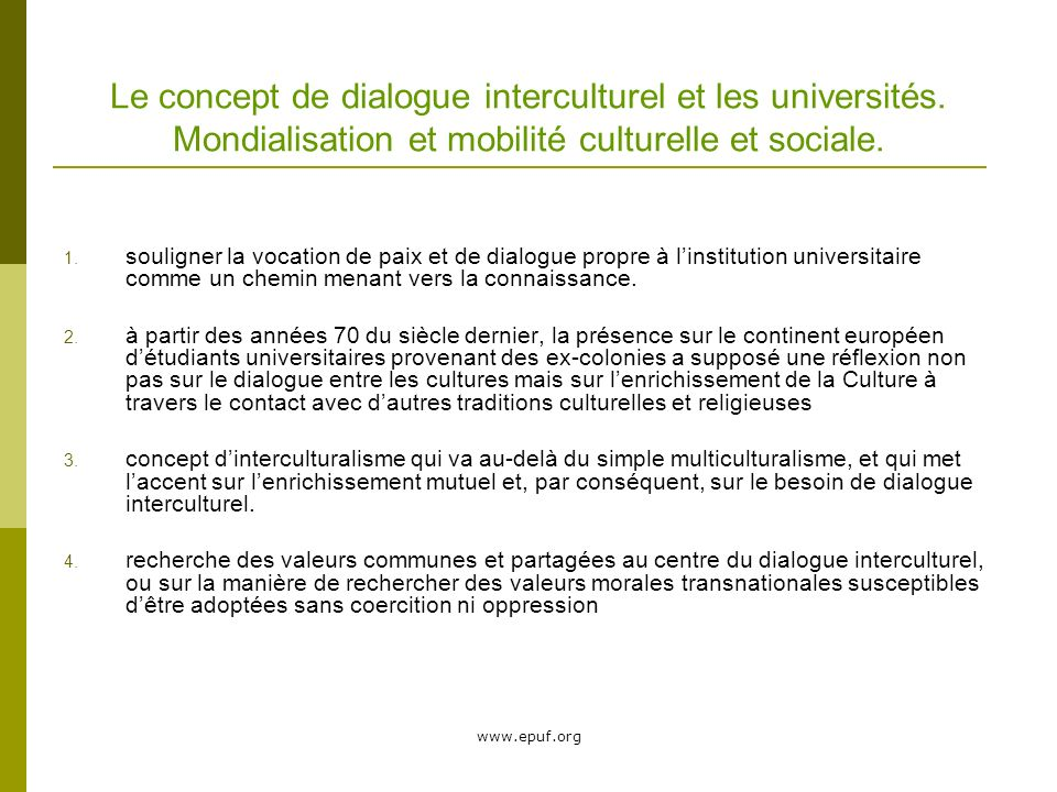 Le concept de dialogue interculturel et les universités.