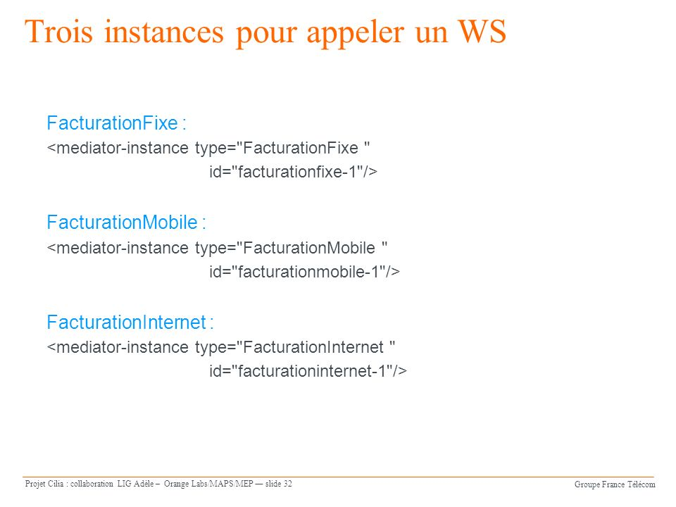 Groupe France Télécom Projet Cilia : collaboration LIG Adèle – Orange Labs/MAPS/MEP slide 32 Trois instances pour appeler un WS FacturationFixe : <mediator-instance type= FacturationFixe id= facturationfixe-1 /> FacturationMobile : <mediator-instance type= FacturationMobile id= facturationmobile-1 /> FacturationInternet : <mediator-instance type= FacturationInternet id= facturationinternet-1 />