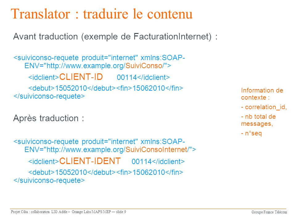 Groupe France Télécom Projet Cilia : collaboration LIG Adèle – Orange Labs/MAPS/MEP slide 9 Translator : traduire le contenu Avant traduction (exemple de FacturationInternet) : CLIENT-ID Après traduction : CLIENT-IDENT Information de contexte : - correlation_id, - nb total de messages, - n°seq