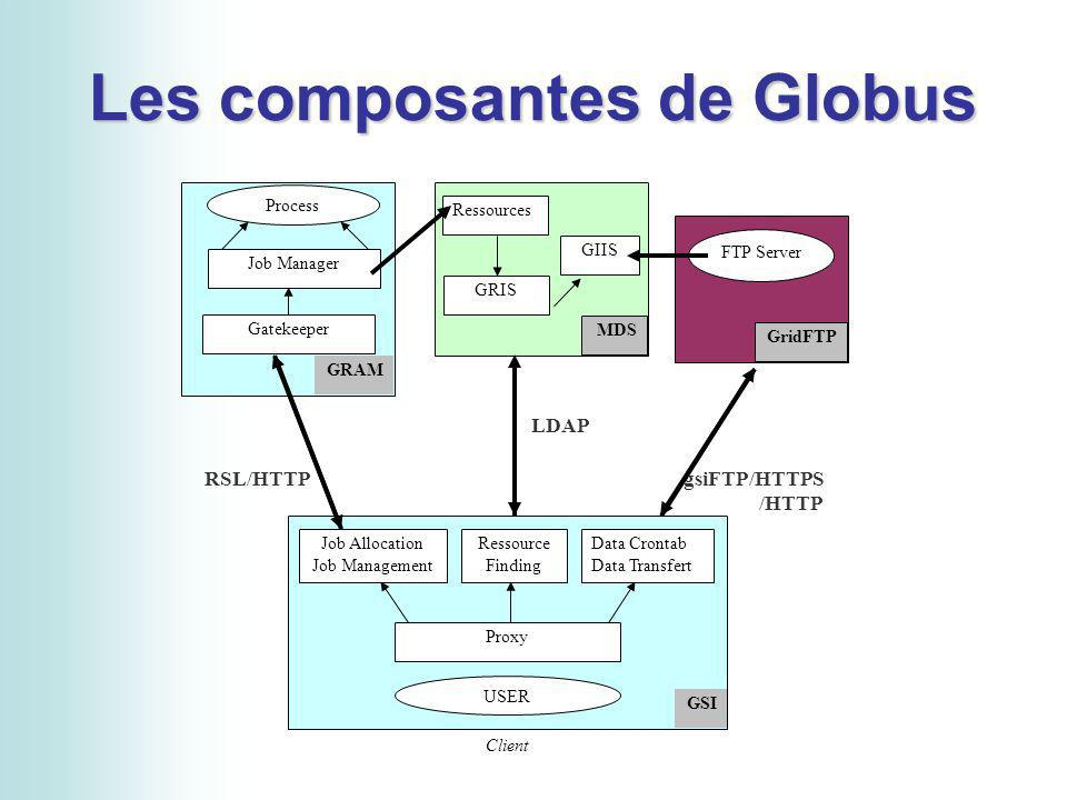 Les composantes de Globus a Process Job Manager Gatekeeper GRAM Ressources GRIS GIIS MDS GridFTP FTP Server USER Job Allocation Job Management Proxy GSI Ressource Finding Data Crontab Data Transfert Client LDAP RSL/HTTPgsiFTP/HTTPS /HTTP