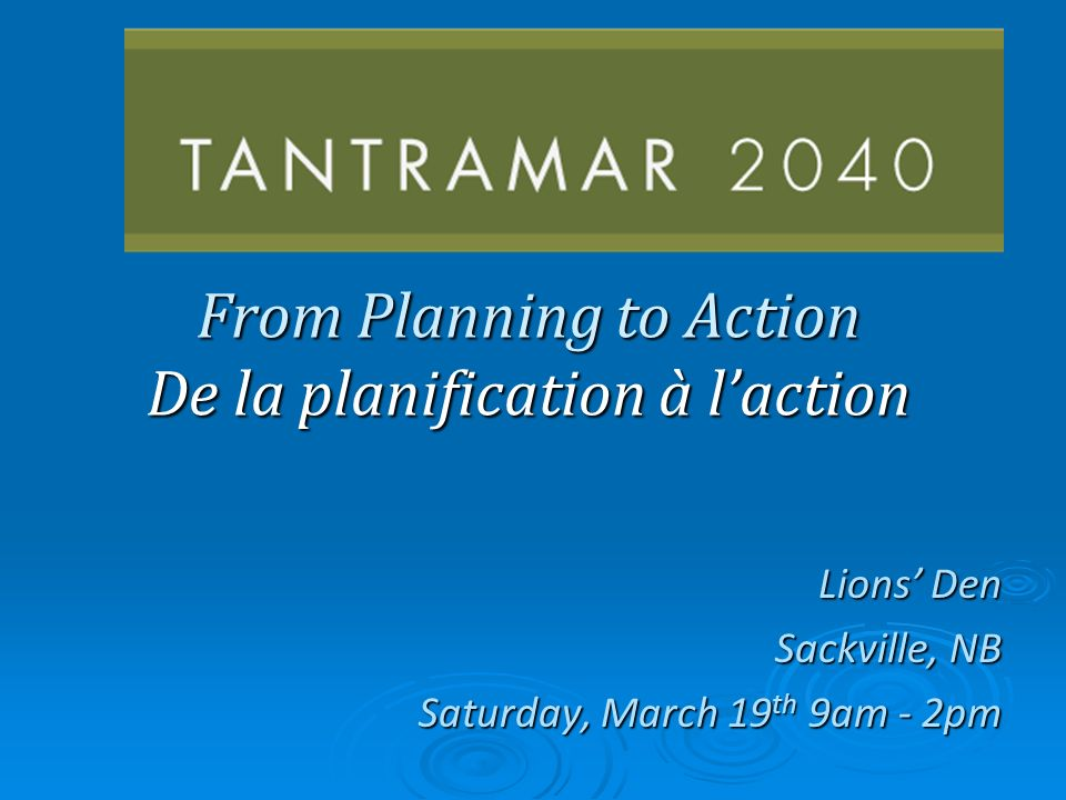 From Planning to Action De la planification à laction Lions Den Sackville, NB Saturday, March 19 th 9am - 2pm