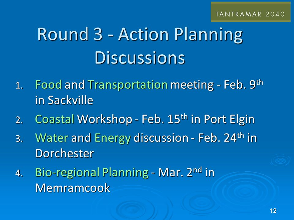 Round 3 - Action Planning Discussions 1. Food and Transportation meeting - Feb.