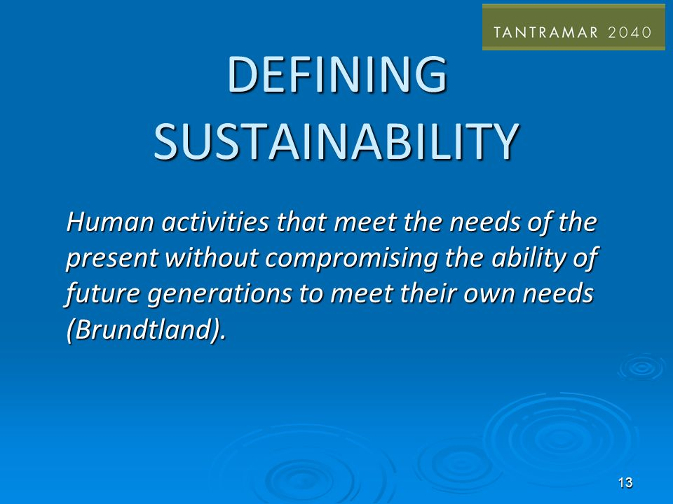 DEFINING SUSTAINABILITY Human activities that meet the needs of the present without compromising the ability of future generations to meet their own needs (Brundtland).