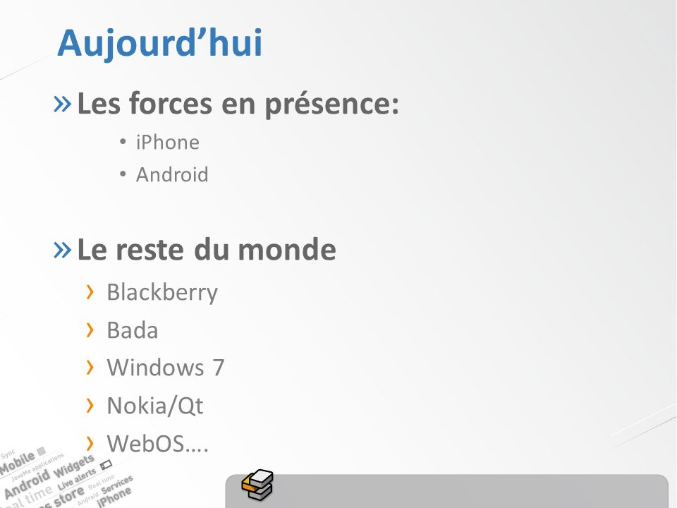 Aujourdhui » Les forces en présence: iPhone Android » Le reste du monde Blackberry Bada Windows 7 Nokia/Qt WebOS….