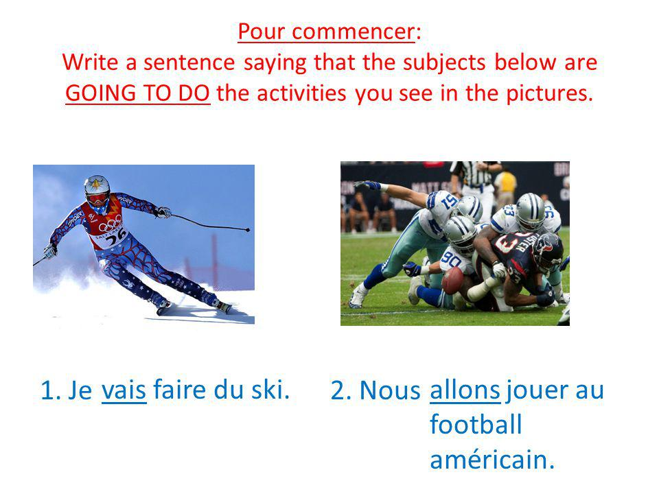 Pour commencer: Write a sentence saying that the subjects below are GOING TO DO the activities you see in the pictures.