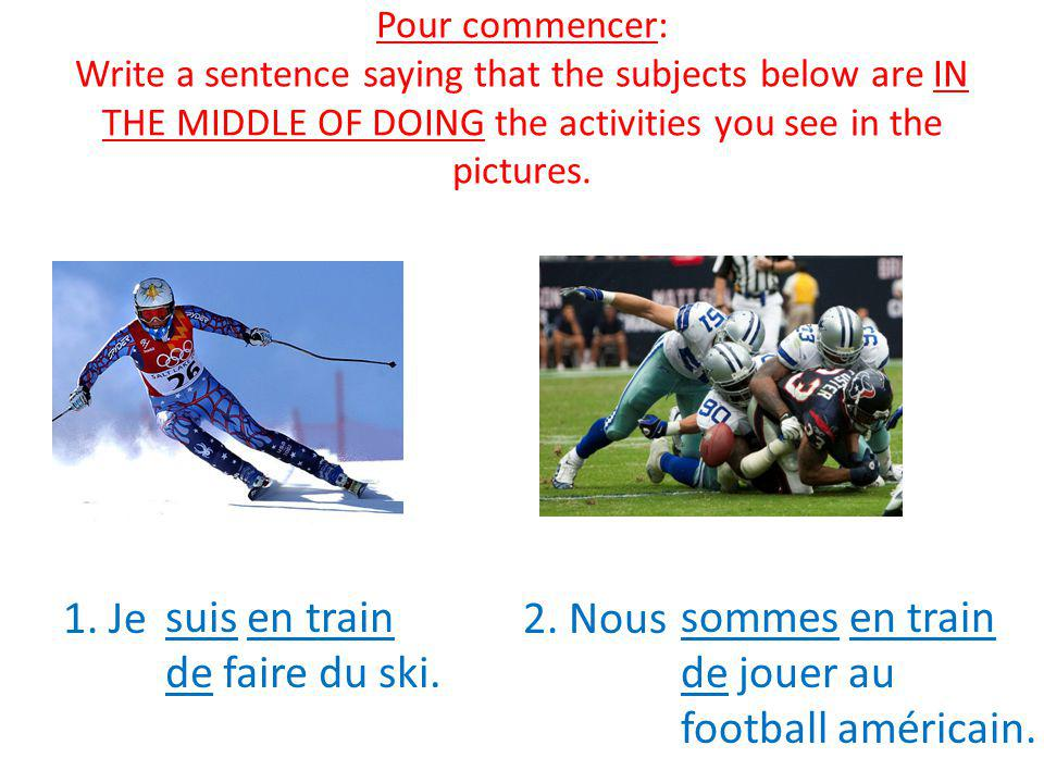 Pour commencer: Write a sentence saying that the subjects below are IN THE MIDDLE OF DOING the activities you see in the pictures.
