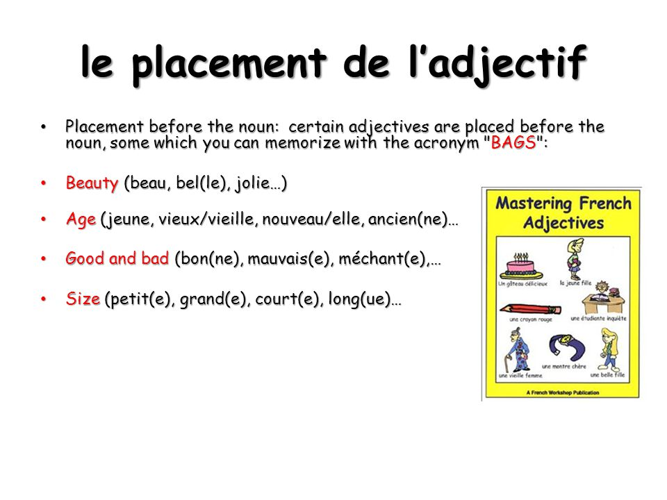 le placement de l'adjectif Placement before the noun: certain adjectives are placed before the noun, some which you can memorize with the acronym BAGS : Placement before the noun: certain adjectives are placed before the noun, some which you can memorize with the acronym BAGS : Beauty (beau, bel(le), jolie…) Beauty (beau, bel(le), jolie…) Age (jeune, vieux/vieille, nouveau/elle, ancien(ne)… Age (jeune, vieux/vieille, nouveau/elle, ancien(ne)… Good and bad (bon(ne), mauvais(e), méchant(e),… Good and bad (bon(ne), mauvais(e), méchant(e),… Size (petit(e), grand(e), court(e), long(ue)… Size (petit(e), grand(e), court(e), long(ue)…