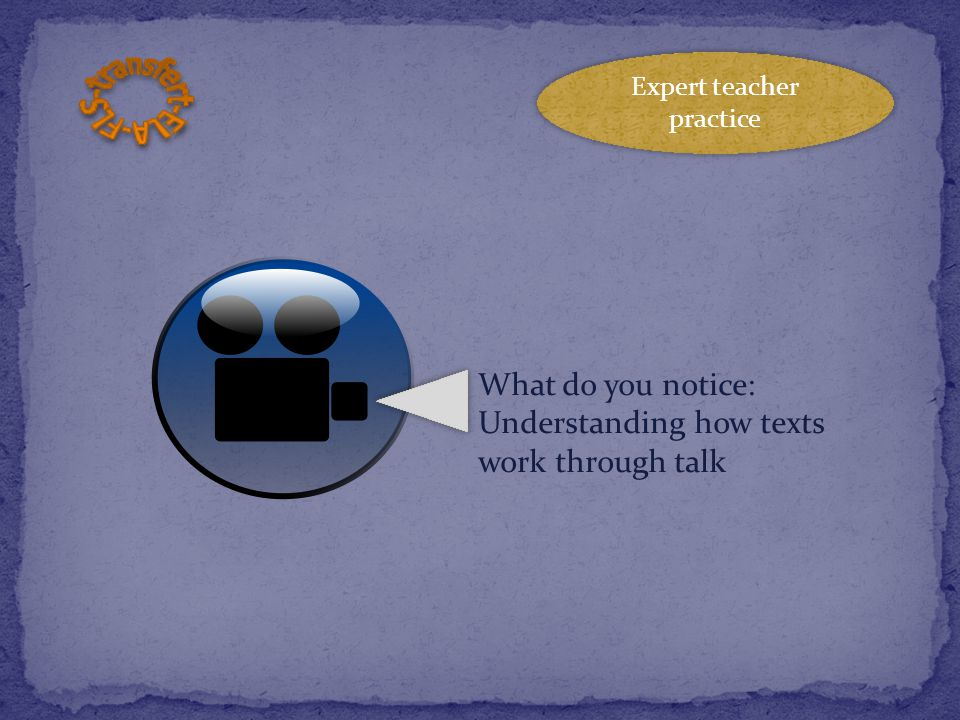 What do you notice: Understanding how texts work through talk Expert teacher practice