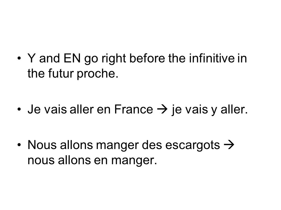 Y and EN go right before the infinitive in the futur proche.