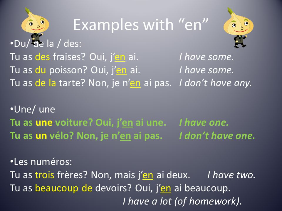 Examples with en Du/ de la / des: Tu as des fraises.