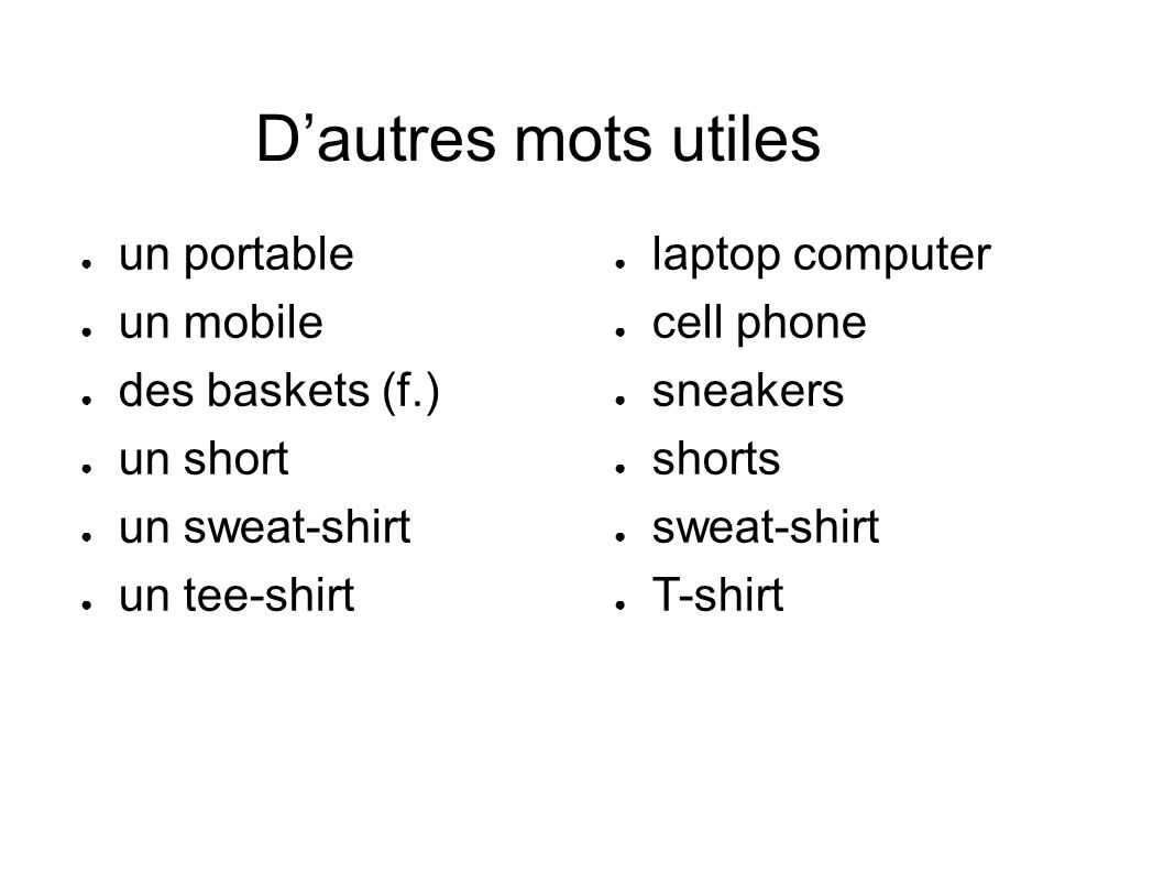 D'autres mots utiles ● un portable ● un mobile ● des baskets (f.) ● un short ● un sweat-shirt ● un tee-shirt ● laptop computer ● cell phone ● sneakers ● shorts ● sweat-shirt ● T-shirt