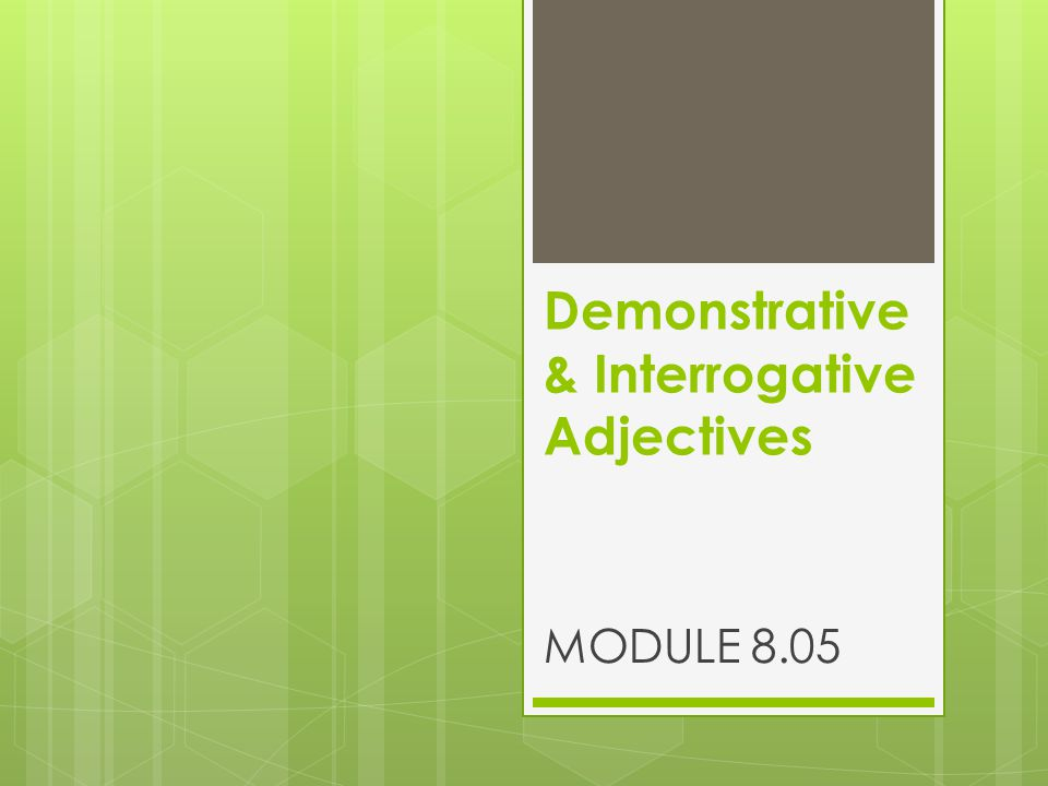 Demonstrative & Interrogative Adjectives MODULE 8.05