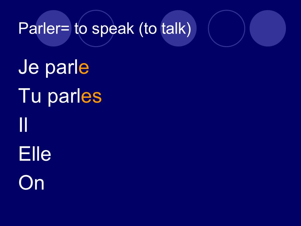Parler= to speak (to talk) Je parle Tu parles Il Elle On