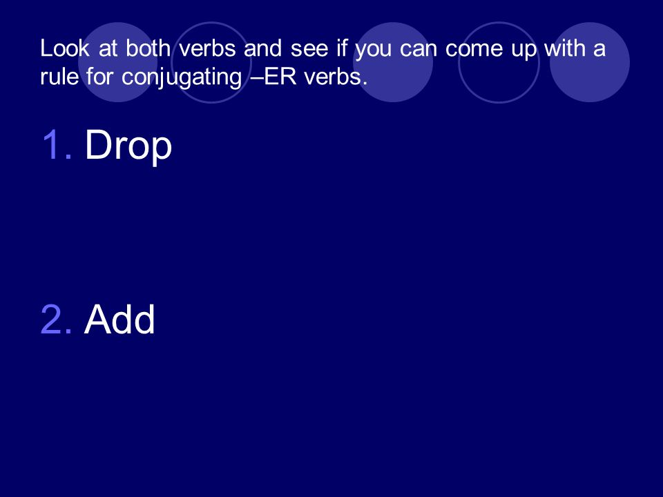 Look at both verbs and see if you can come up with a rule for conjugating –ER verbs. 1.Drop 2.Add
