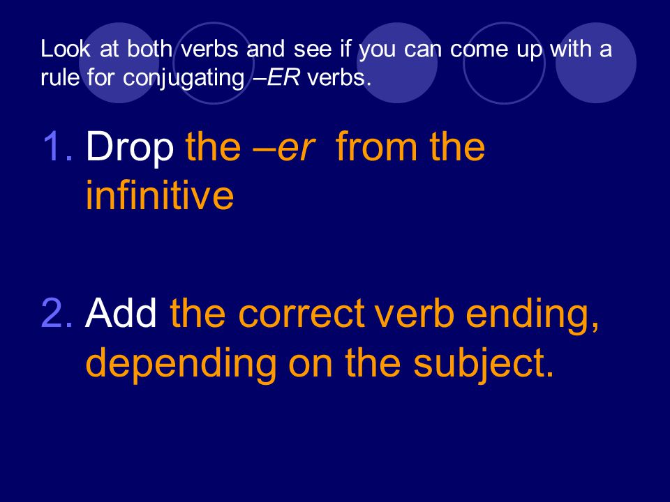 Look at both verbs and see if you can come up with a rule for conjugating –ER verbs.