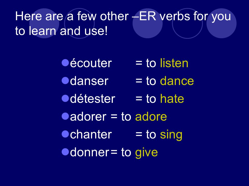 Here are a few other –ER verbs for you to learn and use.