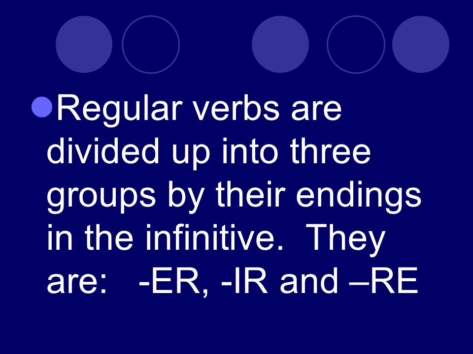 Regular verbs are divided up into three groups by their endings in the infinitive.