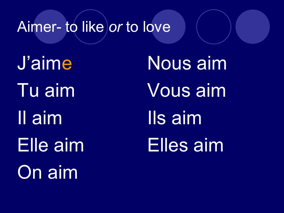 Aimer- to like or to love J'aime Tu aim Il aim Elle aim On aim Nous aim Vous aim Ils aim Elles aim