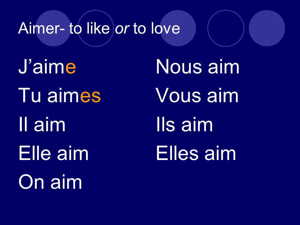 Aimer- to like or to love J'aime Tu aimes Il aim Elle aim On aim Nous aim Vous aim Ils aim Elles aim