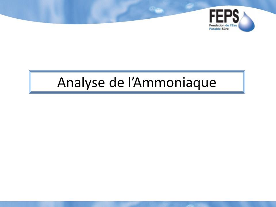 Analyse de l'Ammoniaque