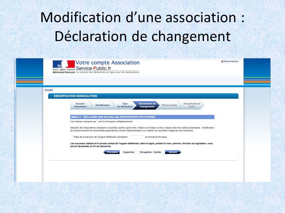 Les E Demarches 1 La Creation D Association 2 Modification Ou