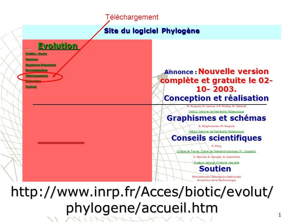 gratuitement le logiciel phylogene