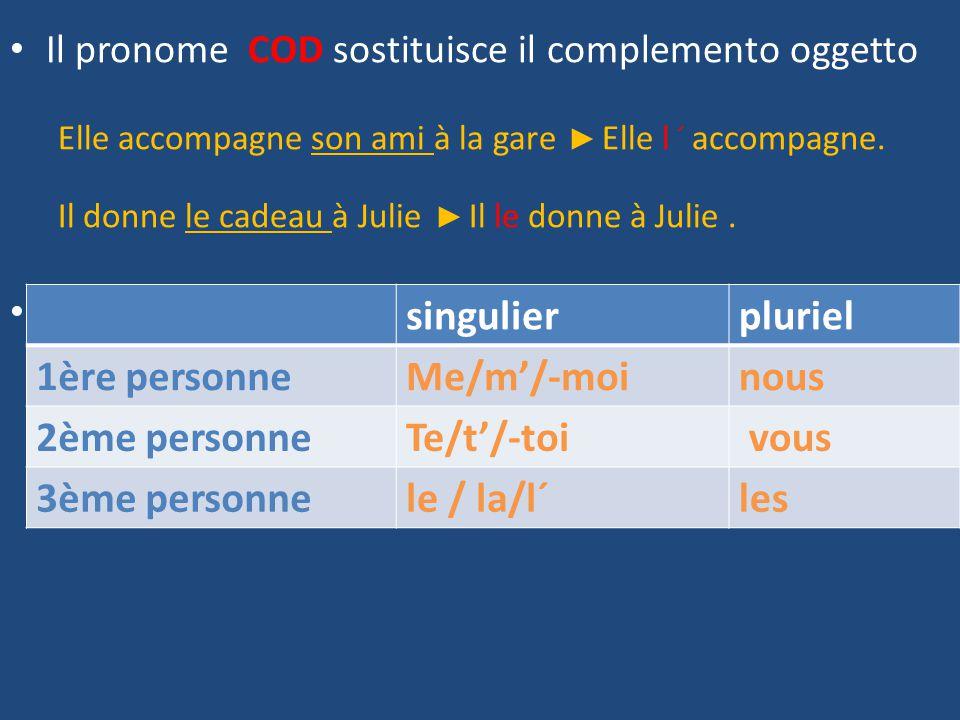 I pronomi COD. Il pronome COD sostituisce il complemento oggetto ...