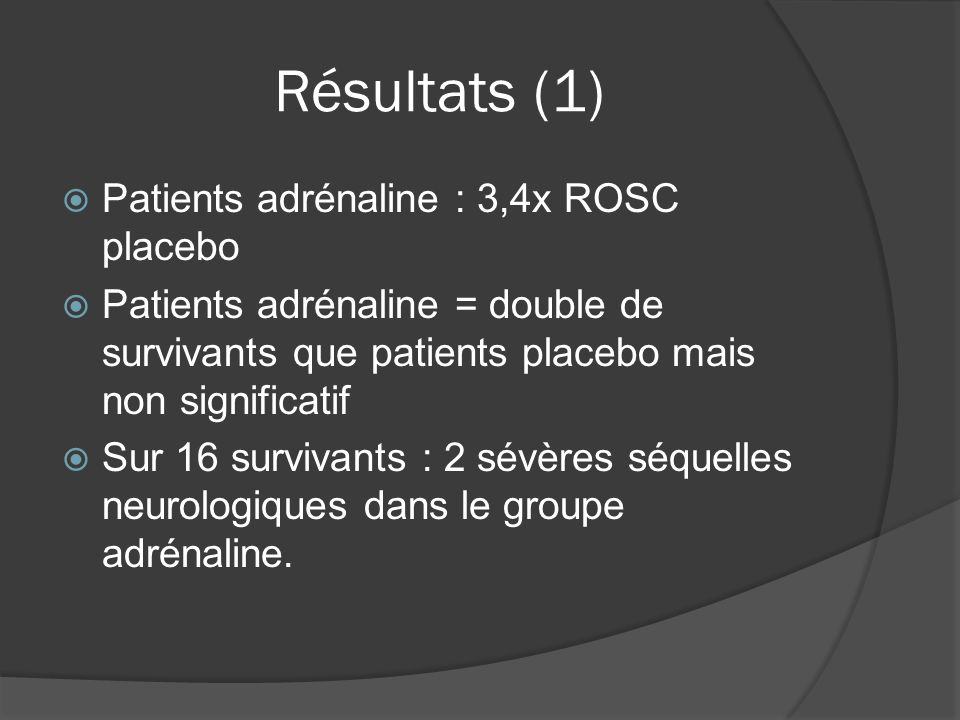 Résultats (1) Patients adrénaline : 3,4x ROSC placebo Patients adrénaline = double de survivants que patients placebo mais non significatif Sur 16 survivants : 2 sévères séquelles neurologiques dans le groupe adrénaline.